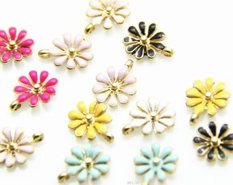 12 pcs of metal flower charm pendant with eneral -1485-15mm