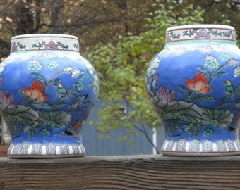 "Vintage Chinese  Vases , Hand Decorated~ 5 1/2"" tall, 3"" opening with Matte look - Robinson's Pottery??"