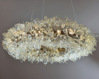Chandelier - Decorations Ceiling light fixture for Living Room with  transparent color leaves and flowers