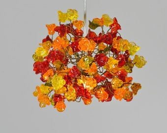 Pendant lighting with warm color roses flowers for hall or bathroom, kitchen island or entryway