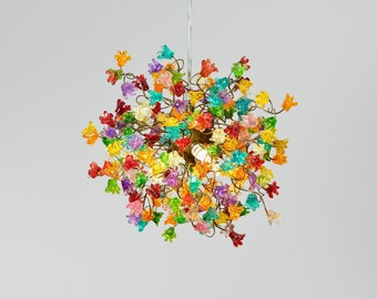 Ceiling lamp with rainbow flowers for dinning room, living room, hall or child room.