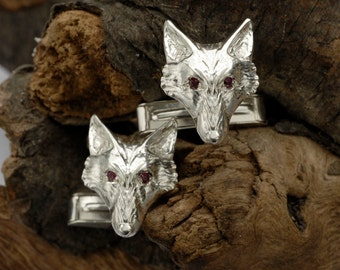 Fox Head Cufflinks  in Sterling Silver with Ruby eyes.