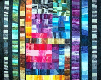 Scrap Inventory ~ Quilt Quilted Wall Hanging ~ Abstract Fiber Art ~ 57x64 OOAK