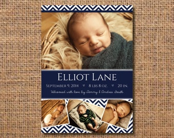 Photo Boy Birth Announcement, Baby Boy Birth Announcement, Photo Announce, Navy Chevron Boy Card, DIY Baby Boy Announcement, Printable Card