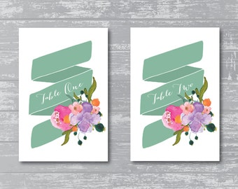 """INSTANT DOWNLOAD - Floral Banner Wedding Reception Table Numbers 1-10 DIY Print-Ready 6x4"""""""