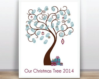 Christmas Family Tree Guest Book - Printable PDF - Digital Fingerprint Signature Tree - Custom color,text and size includes