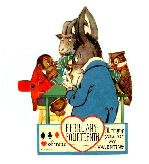 "Vintage Die-Cut Mechanical Valentine Animals Playing Cards ""Trump"" Pun Anthropomorphic Valentine's Day Card 1930s"