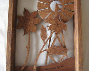 Wood Shadowbox Kansas Farm Wall Picture CL22-8