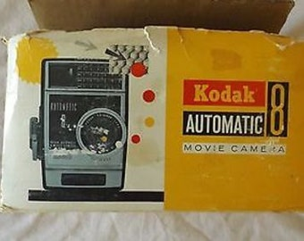 Vintage Kodak Automatic 8 Movie Camera with Original Box and Instructions C26-36