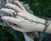 opal slave bracelet hand chain hand flower bridal jewelry bohemian Renaissance Mothers day victorian moon goddess pagan boho gypsy style