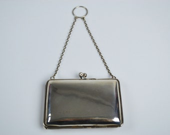 1910s Vintage Card Case Silver with Chain Handle & Blue Lining