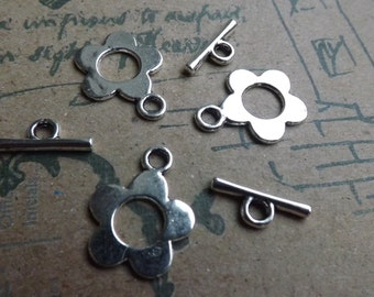 Trio of  Silver flower Toggles