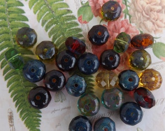Czech glass fire polish donut beads