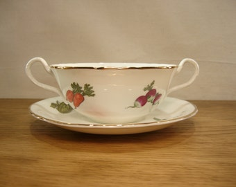Vintage 1950 Aynsley fine bone china soup bowl and saucer with vegetables pattern