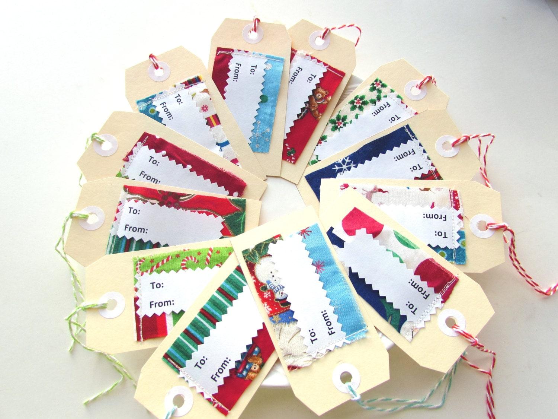 Gift tags, Christmas tags, Appliqued fabric tags, Holiday To From tags, Set of 12 handmade tags, Xmas hang tag, Christmas present decoration