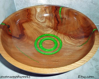 hand turned bowl, inlaid bowl, resin inlay, decorative wood bowl, with bright green resin inlay, artistic wood turnings, fine woodworking