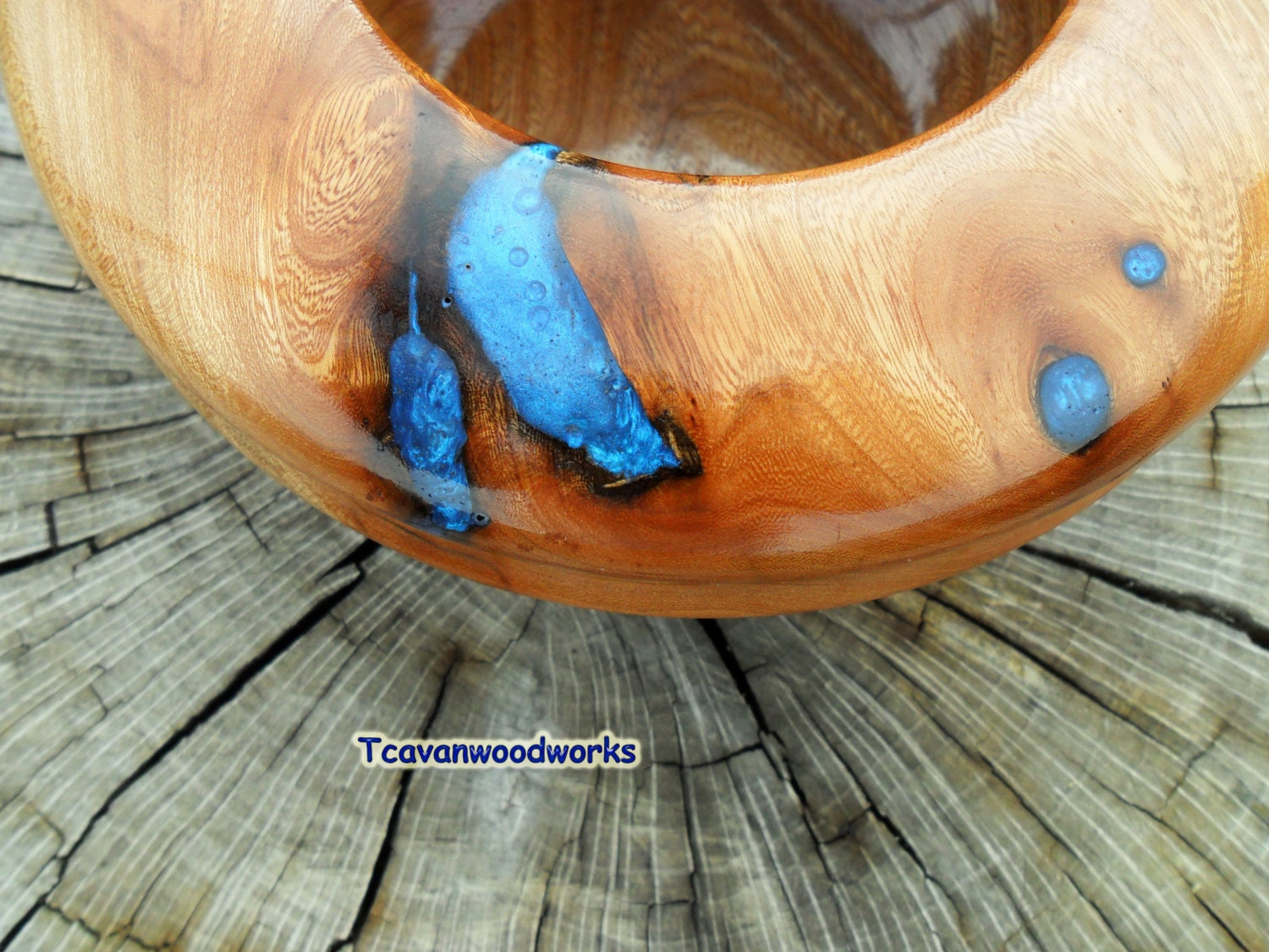 Blue Wood Bowl Epoxy Resin Inlay Wooden Bowl Blue Accent