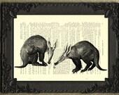 Aardvark art print poster, aardvark wall art, ant bear decor