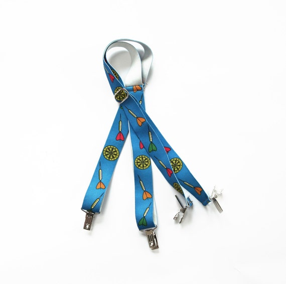 Kids suspenders blue with darts patterns vintage 70s