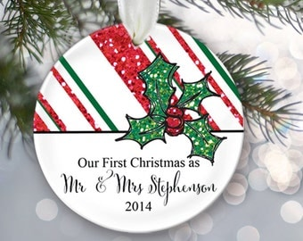Candy stripe Our First Christmas Ornament Personalized Christmas Ornament Christmas Gift Bridal Shower Gift Name & Date Mr and Mrs OR123