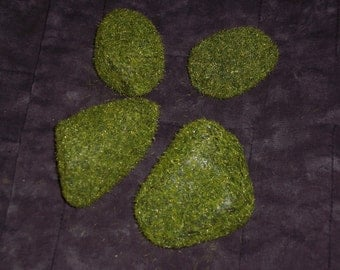 Mossy floral rocks,4/pkg,mini hedges,bushes,evergreens,crafts,fairy houses,models,doll house landscaping