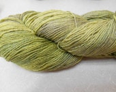 Hand Dyed Fingering Weight Sock Yarn 3 Ply, Cheviot Silk 80/20 Blend greens
