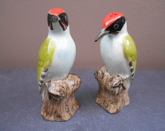 Woodpecker Salt and Pepper Shakers Hand Painted Green Woodpecker Salt and Pepper Pots