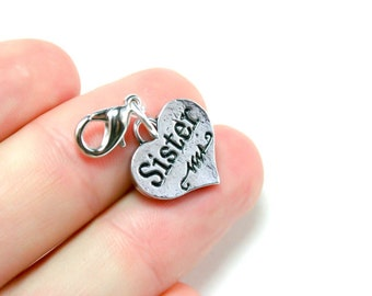 Sister Heart Charm. Birthday Gift for Sisters. Double Sided Heart Charm for Sisters. SCC179