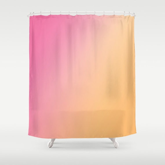 pink to orange ombre shower curtain by shelleyscrochetole