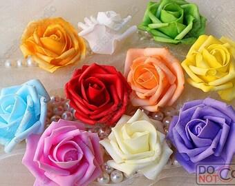 100 pcs Artificial Foam Roses Wedding Floral Arrangement Flower Heads Multi Color 6-7cm Diameter