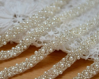 pearl beaded trim, bridal sash, beaded jewelry Trim, clear beads trim