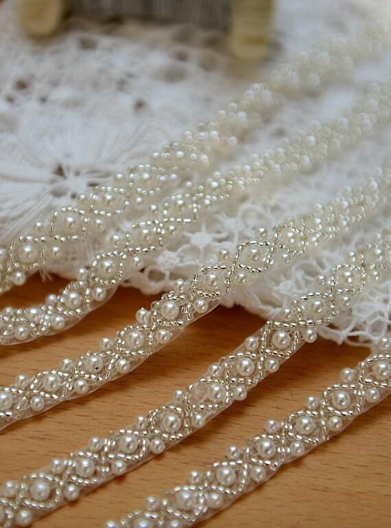 Pearl beaded trim bridal sash beaded jewelry trim clear for Wedding dress trim beading