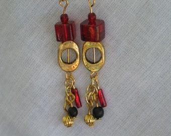FSU Earrings, FSU Jewelry, Delicate Earrings, Dangle Earrings, Garnet & Gold Earrings, FSU,  ChandelierEarrings, Seminole Earrings
