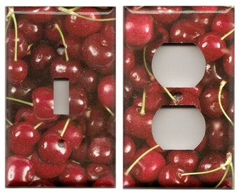 Red Cherries/Cherry Realistic Looking Light Switchplates and Wall Outlet Covers Home Decor Accents Decora Light Switch Plates