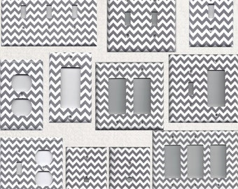 Silver/Grey/Gray/Charcoal & White Chevron Zig Zag Light Switchplates and Wall Outlet Covers Chic Home Decor Accents