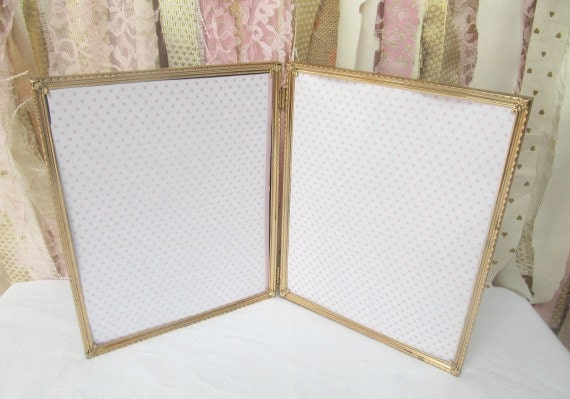 Vintage Gold Double Frame, Bi Fold Hinged metal 8x10 Wedding Table ...