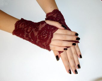 Ruby red a pair of elegant short lace gloves, Maroon Short gothic gloves, red wine vampire gloves