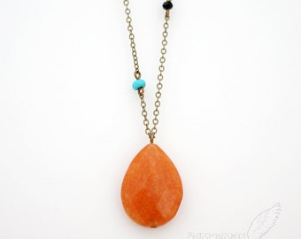 Vintage Antique Brass One inch Teardrop Orange, Pink Pendant, Double Bead: Turquoise and Black, Simple Drop, Necklace