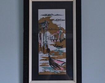 Vintage Mid Century Framed Italian Harbor Scene Print