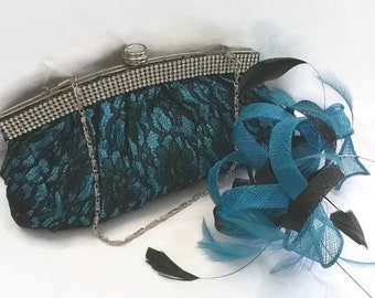 Turquoise & Black Fascinator ..Stunning Sinamay and  Feather Fascinator with Bag