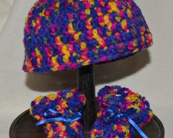 Newborn hat and bootie set ready to ship, funky multicoloured