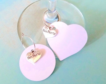 10 Hen Party Name Tags with Silver Heart Charm that Reads Hen Party- Hen Party Ideas