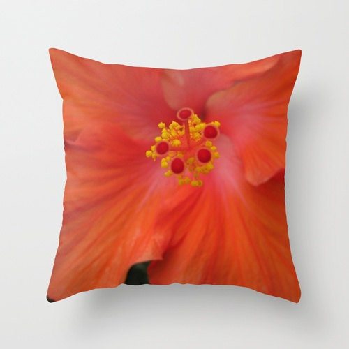 Red Hibiscus Decorative Pillow : Scarlet Red Hibiscus Pillow Flower Pillow Photo Pillow Case