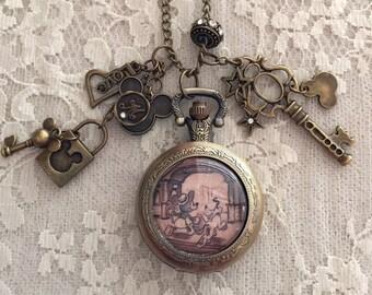 Mr. M.Mouse Theme, Pocket Watch Necklace. Antique Bronze Tone.