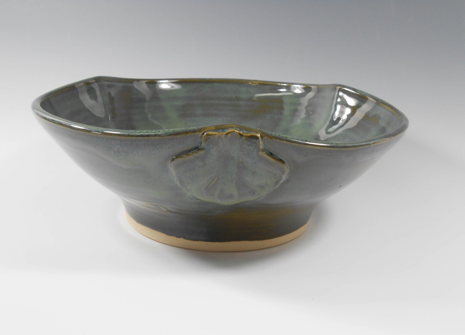 Pottery Baptismal Bowl With Scallop Design In Dark Green W90