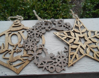 Set of 3 Ornaments, Laser Cut. Wreath, Star, Reindeer. Christmas, Holiday Decoration. Rustic. 5.5 Inch