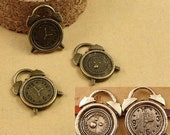 15pcs Antiqued bronze &Silver Alarm Clock Charms, 17.5x13.5mm Bulk Charms Pendants Jewelry Making Findings