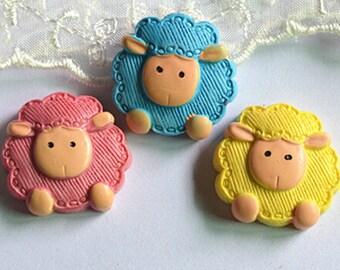 15pcs DIY Kawaii Sheep flat back resin cabochon decoden