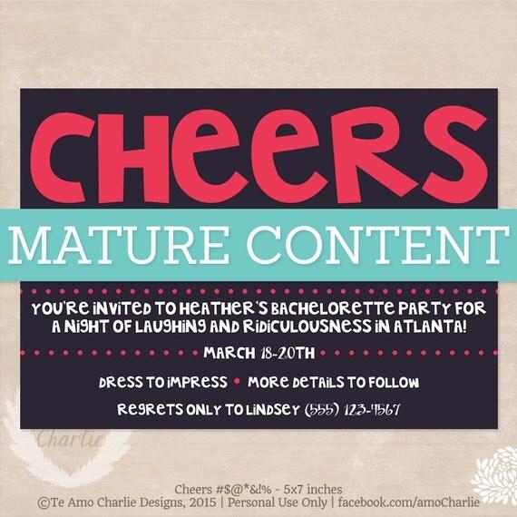 Mature Bachelorette Party Invitations - Bachelorette Party - Girl's Night Out Invitations - Cheers Bachelorette Party Invites