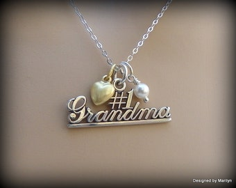 Sterling silver #1 Grandma necklace,  mother jewelry, grandmother jewelry, birthstone necklace